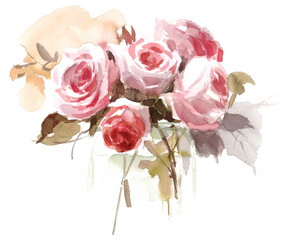 Watercolor Rose Bouquet in a Vase Floral Background Texture Hand Painted Illustration