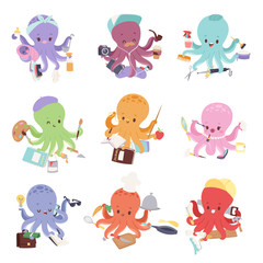 Octopus mollusk ocean coral reef animal character different pose like human and cartoon funny, graphic marine life underwater tentacle vector illustration.