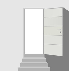 Open door and straight staircase with three steps on abstract white background vector eps 10