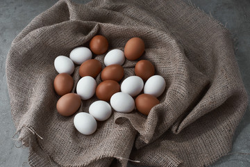 chicken eggs in a bag on a farm.