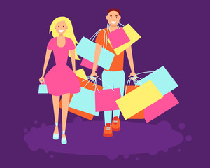 Young couple shopping with colorful bags over a purple background. Vector illustration