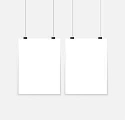 Vector blank poster with transparent vector shadow on gray background. Vector template, mock up