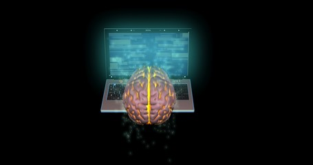 Laptop, mobile device sending information into glowing brain. 3d render