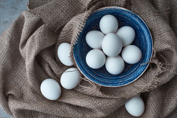 Fresh eggs are collected for cooking