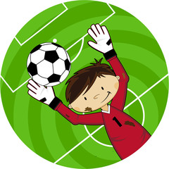 Cute Cartoon Soccer Goalkeeper