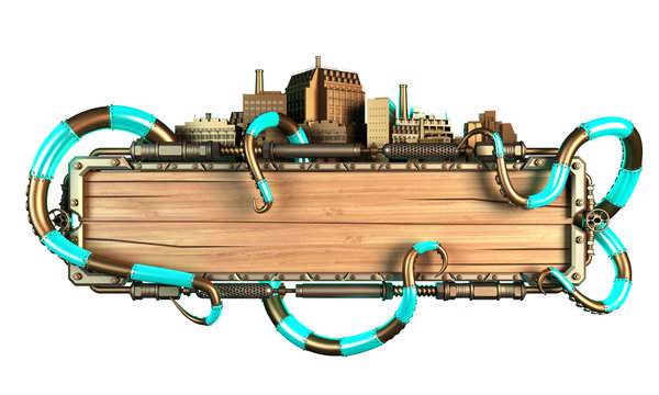 stylized steampunk frame made of wood and metal, with octopus tentacles and cities. 3d illustration