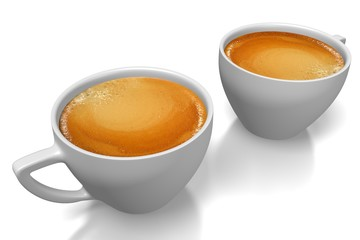 3D two coffee cups.