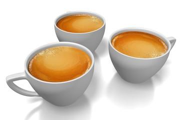 3D three coffee cups.