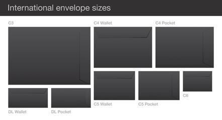 Set of International enveloep sizes.