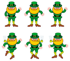 Dancing leprechauns isolated on a white