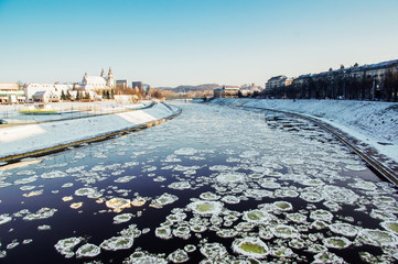 Frozen water of the Neris river. Vilnius. Lithuania