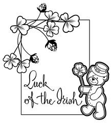 Outline  frame with shamrock contour and teddy bear. Raster clip art.