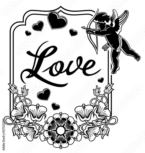 u0026quot black and white label with silhouettes of cupid  raster