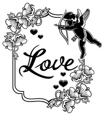 Black and white label with silhouettes of Cupid. Raster clip art.