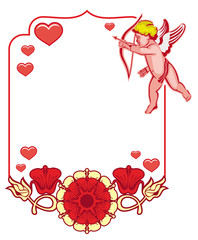 Elegant frame with Cupid, decorative flowers and hearts. Raster clip art.