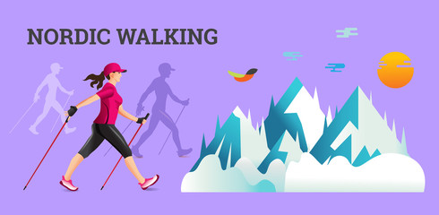 Vector illustration banner with Nordic Walking. Wall mural