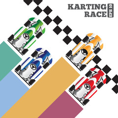 Karting at the finish line. View from above. The template for the presentation. Vector illustration.