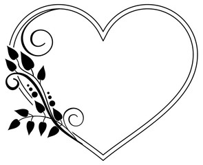 Heart-shaped black and white frame with floral silhouettes. Raster clip art.