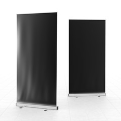 Roll-up banners stand isolated on white background.