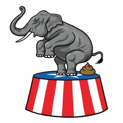 American Republican Party GOP Elephant Vector Cartoon Illustration
