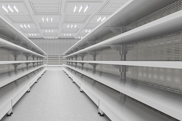 Supermarket aisle with empty shelves