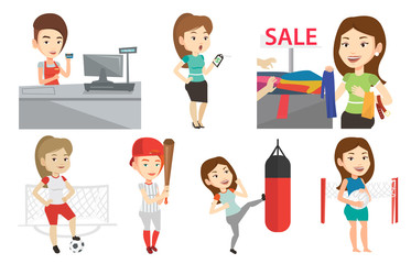 Vector set of shopping people and sportswomen.