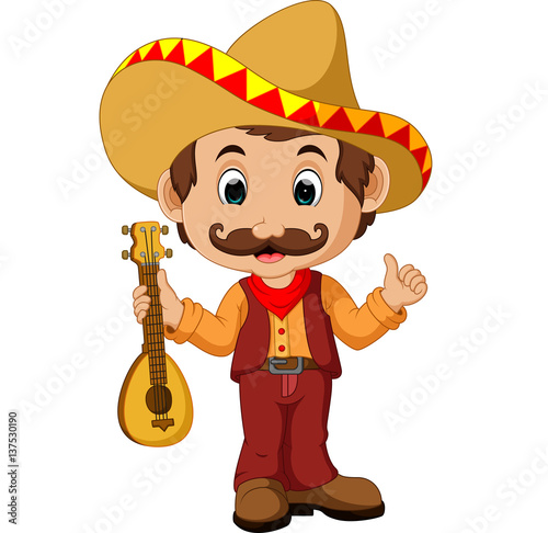 quotmexican cartoon character with guitarquot stock image and