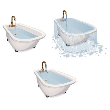 Overflowing bathtub with water spilt on the floor along with 2 tubs filling up demonstrating scientific theory done realistically with graduated tones.