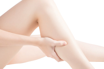 Acute pain in a woman  calf leg isolated on white background. Clipping path on white background.