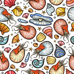 Nautilus and shell seamless pattern
