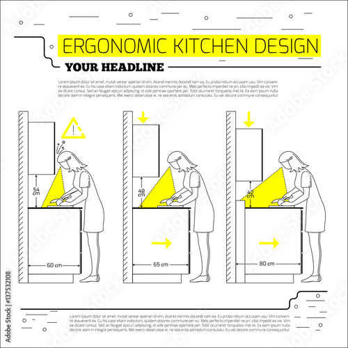 Ergonomics Kitchen Design Vector Illustration In Line Style On White Background Space For