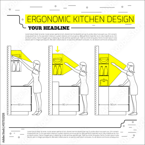 """Ergonomics Kitchen Design. Vector Illustration In Line"