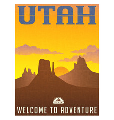 Utah travel poster or sticker. vector illustration of monument valley at sunset.