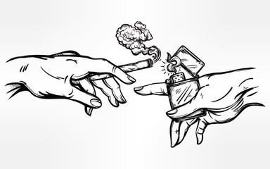 Hands with weed joint or cigarette and a lighter.