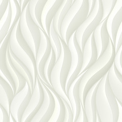 Seamless pattern with white volumetric waves. Abstract background.