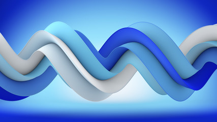 Blue spiral shape abstract 3D rendering