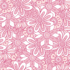 Vector flower seamless pattern. Doodle style. The background for posters, cards and fabric.