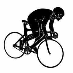 silhouette of a rider on bike, vector draw