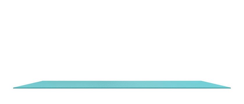 3d rendering of light blue rubber yoga mat for exercise isolated on white background