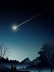 couple in deep forest watching shooting star
