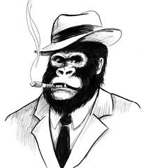 Gorilla smoking a cigar