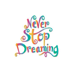 : Never stop dreaming Inspirational text motivational poster.