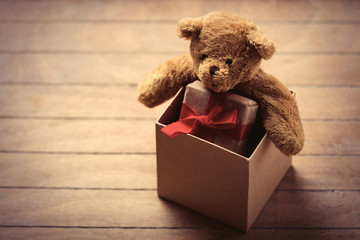 teddy bear and gift in box