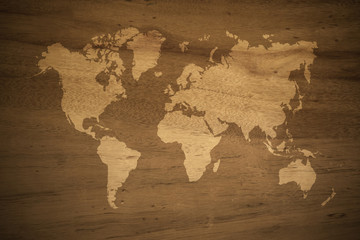 Wood texture background , process in vintage style with world map