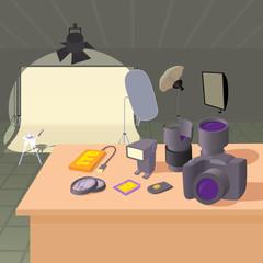 Photo studio concept, cartoon style