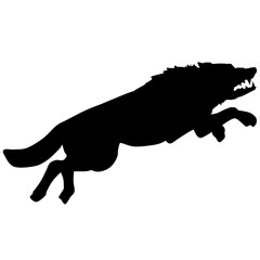 Black and white vector silhouette illustration of a wolf