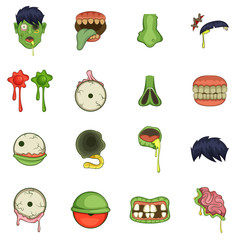 Zombie parts icons set, cartoon style