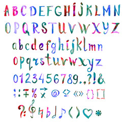 Hand painted, handwritten watercolor font with symbols and numbers, bright colors of rainbow (green, blue, pink), isolated