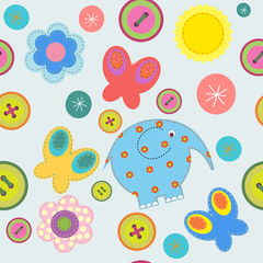 Cute seamless pattern with flowers and butterflies elephant
