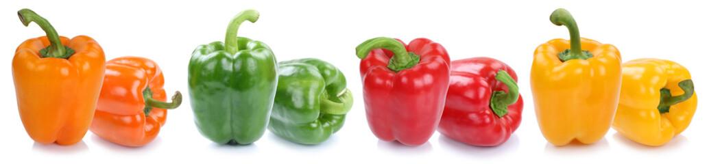 Paprika Paprikas bunt frisch Gemüse Freisteller freigestellt isoliert in einer Reihe